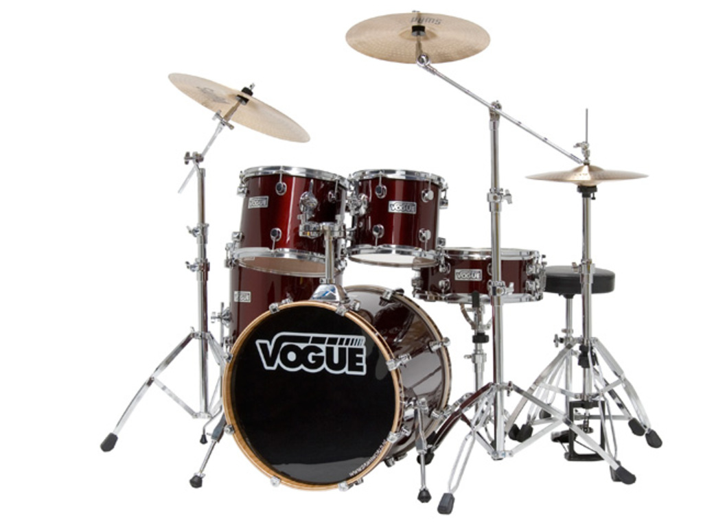 "Drumset Vogue Studio set, Wine Red, 22"", 10"", 12"", 14"", 14"", including Stool and Swad cymbalsset"