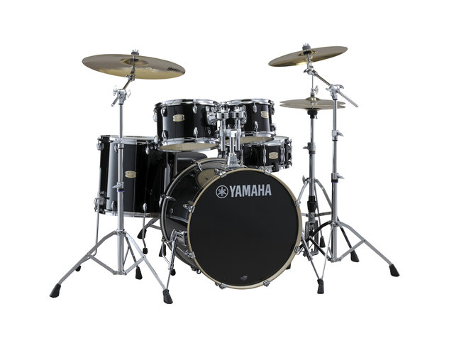 "Drumset Yamaha Stage Custom Birch SBP2F5RBL6W Raven Black, 22"", 10"", 12"", 16"", 14"" , including hardware"