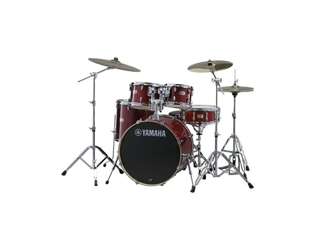"Drumset Yamaha Stage Custom Birch SBP0F5CR7 Cranberry Red, 20"", 10"", 12"", 14"", 14"", HW780"
