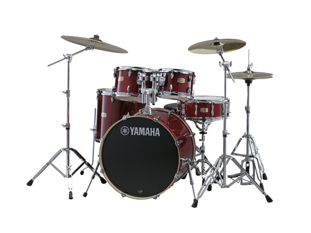 "Drumset Yamaha Stage Custom Birch SBP2F5CR6W Cranberry Red, 22"", 10"", 12"", 16"", 14"", including hardware"