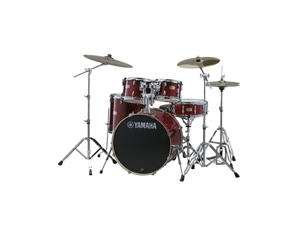 "Drumstel Yamaha Stage Custom Birch SBP0F5CR6W Cranberry Red, 20"", 10"", 12"", 14"", 14"", HW680W"
