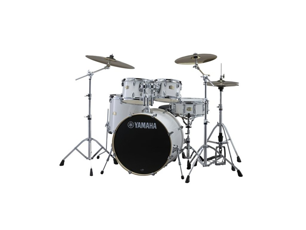 "Drumstel Yamaha Stage Custom Birch SBP0F5PWH7 Pure White, 20"", 10"", 12"", 14"", 14"", HW780"