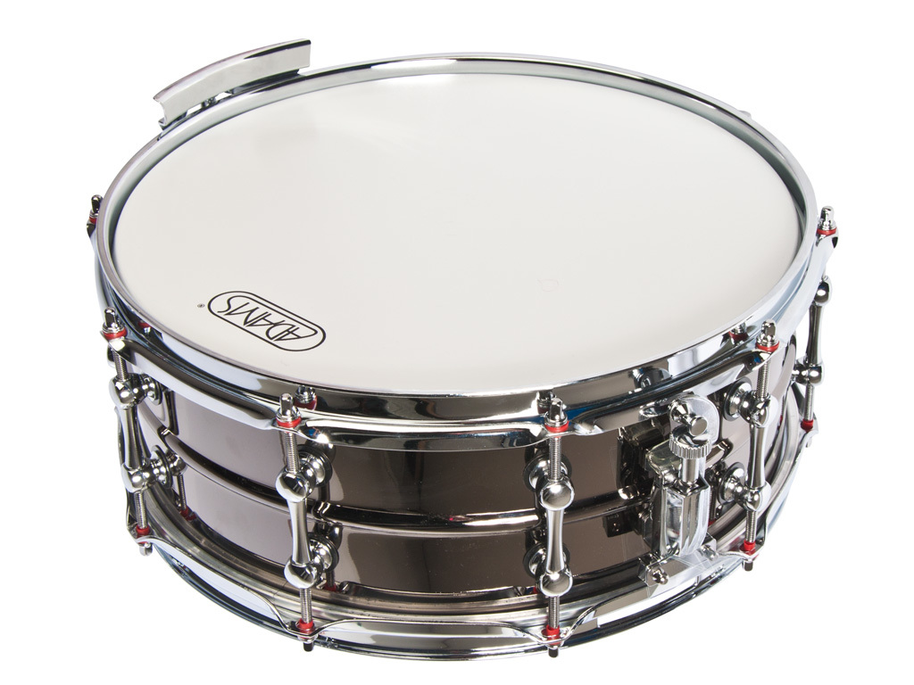 Snare Drum Adams 1455 Red Shiva, Black nickel with white logo plate and Red washers