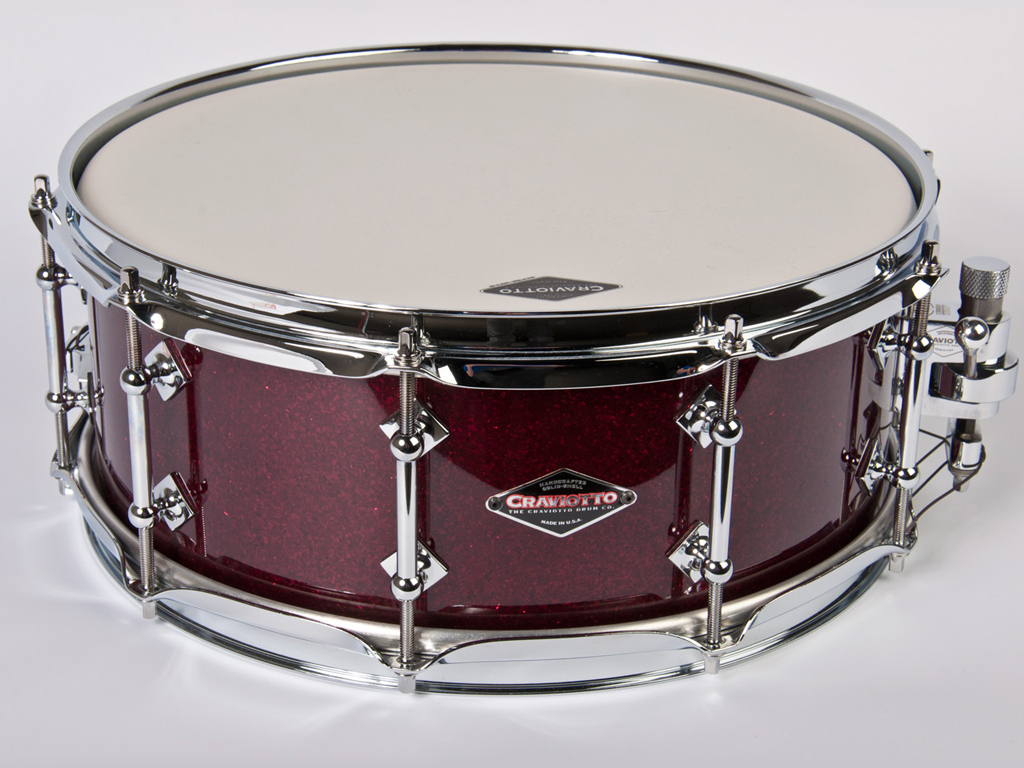 "Snaredrum Craviotto solid shell Cherry snare drum, 14"" x 5.5"", 30"" edges burgundy sparkle"