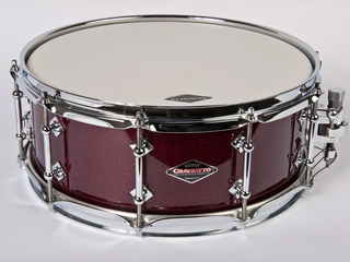 "Snaredrum Craviotto solid shell cherry snare drum 5.5x14"", 30"" edges burgundy sparkle"