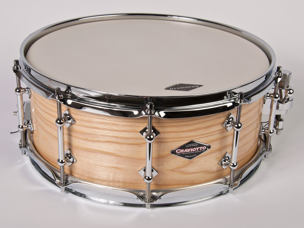 "Snaredrum Craviotto solid shell hickory snare drum 14"" x 5.5"", 45"" edges"