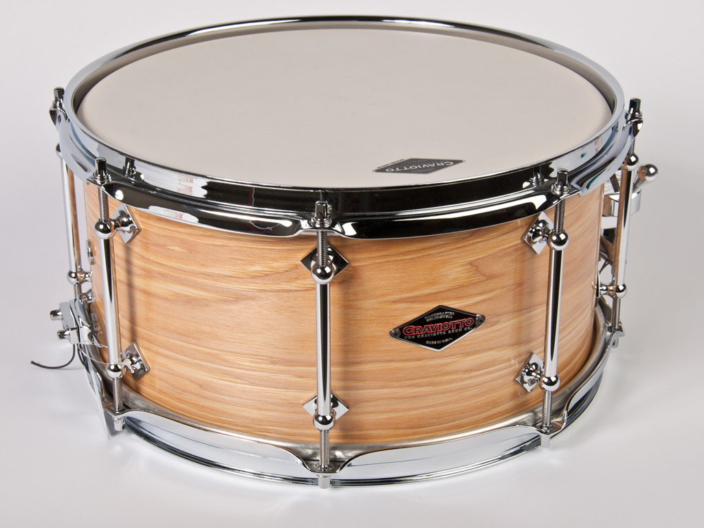 "Snaredrum Craviotto solid shell hickory snare drum 13"" x 6.5"", bb/45"" edges"