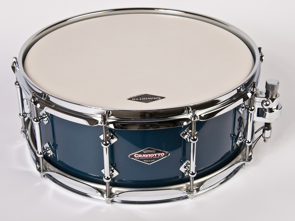 "Snaredrum Craviotto solid shell maple snare drum 14"" x 5.5"", 45"" edges McHUGH blue laquer"