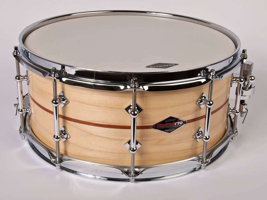 "Snaredrum Craviotto stacked solid shell snare drum 14"" x 6.5"" 45"" edges populier / mahonie / populier"