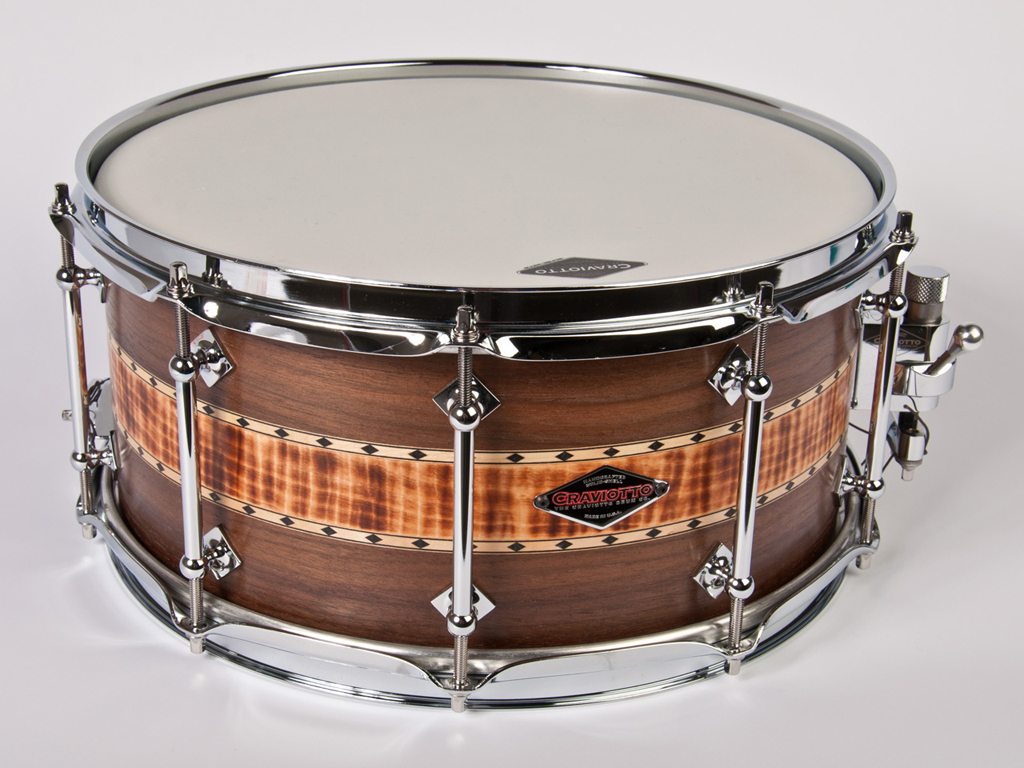 "Snaredrum Craviotto stacked solid snare drum 14"" x 6.5"", 45"" edges walnut/ burnt curly / walnut maple inlay"