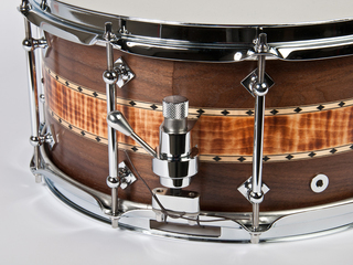 "Snaredrum Craviotto stacked solid snare drum 6.5x14"", 45"" edges  walnut/burnt curly/walnut maple inlay"