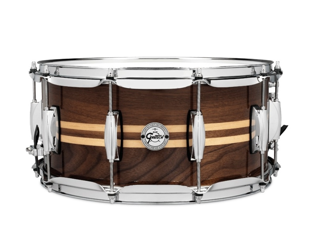 "Snaredrum Gretsch S1-6514W-MI, Silver Series, 8 ply Walnut with dual Maple inlay, 14"" x 6,5"", Gloss Natural Finish"