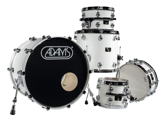 "Shell Set Adams 8000 Dpresent 20 Studio, 20"", 10"", 12"", 14"", 14"", Chrome Hardware, White Gloss"