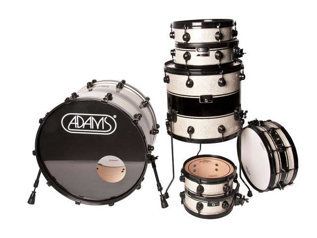 "Shell Set Adams 8000 Dpresent 22 Studio, 22"", 10"", 12"", 16"", 14"", Zwart Hardware, Silver Sparkle Black Racing Stripe"
