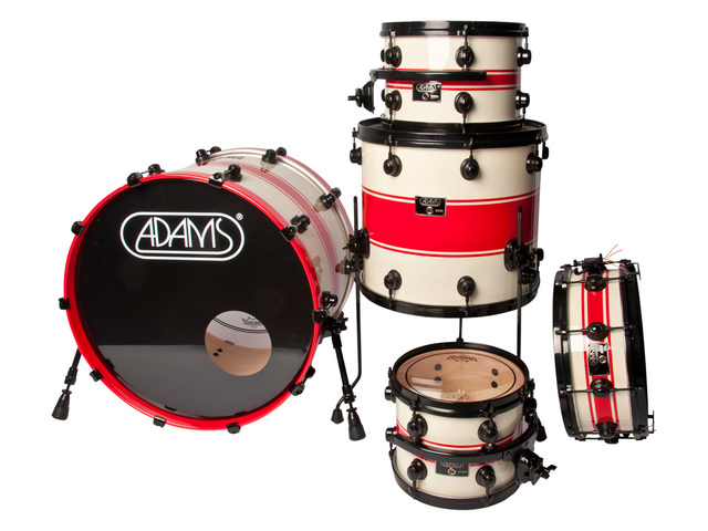 "Shell Set Adams 8000 Dpresent 22 Studio, 22"", 10"", 12"", 16"", 14"", Zwart Hardware,White sparkle to Red racing Stripe"