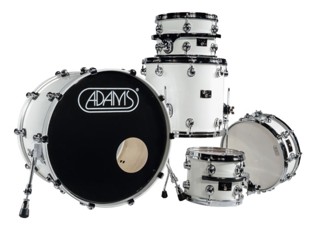 "Shell Set Adams 8000 Dpresent 22 Studio, 22"", 10"", 12"", 16"", 14"", Chrome Hardware, White Gloss"
