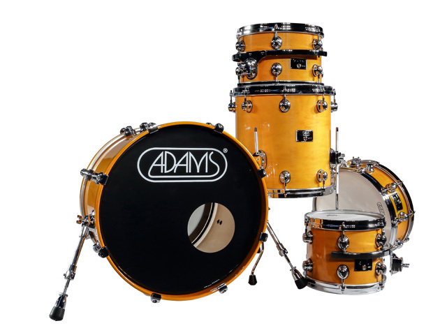 "Shell Set Adams 8000 Dpresent 22 Studio, 22"", 10"", 12"", 16"", 14"", Chrome Hardware, Yellow Gloss"