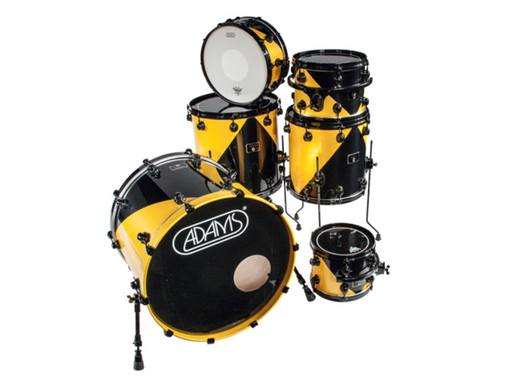 "Shell Set Adams 8000 Dpresent Extra Savage 22 Rock, 22"", 13"", 16"", 18"", 14"", Zwart Hardware, Black/Yellow Lacquer"