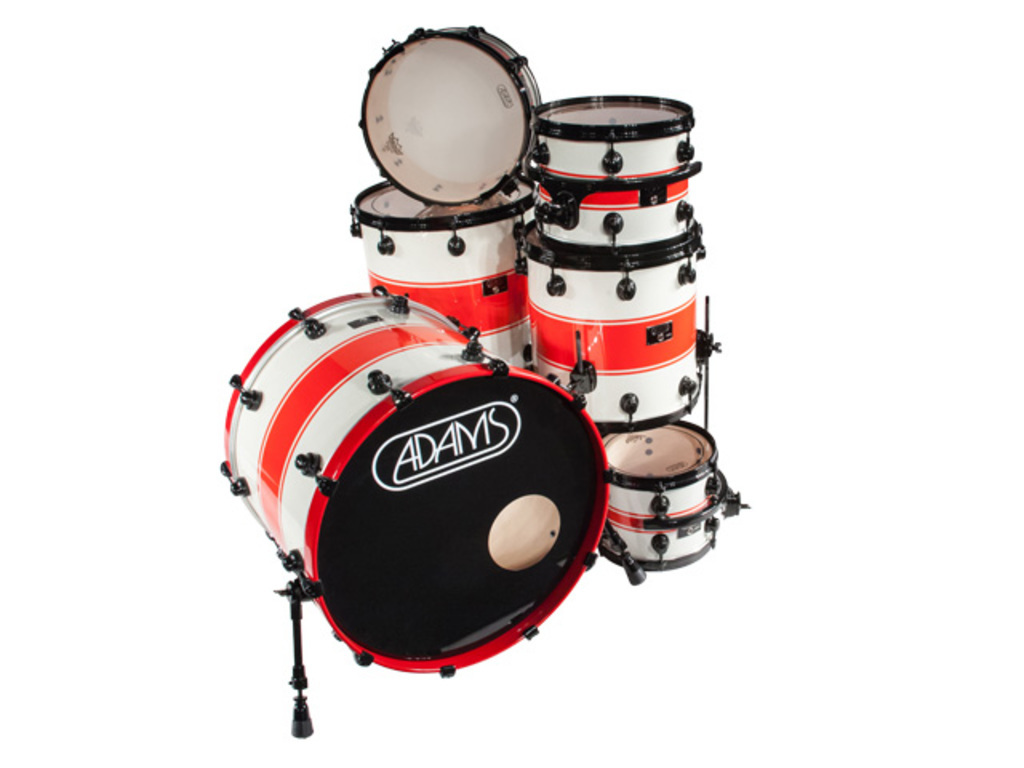 "Shell Set Adams 8000 Dpresent Extra Savage 22 Rock, 22"", 13"", 16"", 18"", 14"", Zwart Hardware, White Sparkle Red Racing Stripe"