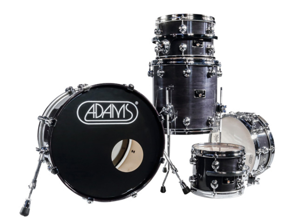 shellset Adams 8000 Dpresent 20 Studio Maple Hout Chrome Hardware incl.New Style Rimsyteem Black Gloss
