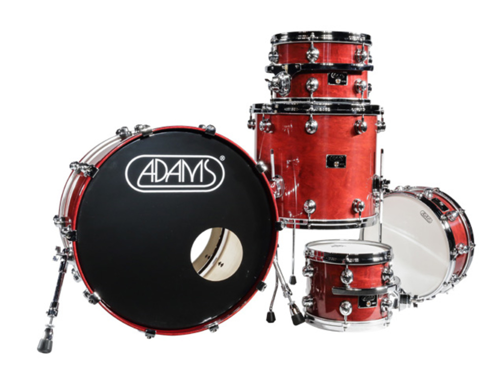 shellset Adams 8000 Dpresent 20 Studio Maple Hout Chrome Hardware incl.New Style Rimsyteem Walnut Gloss