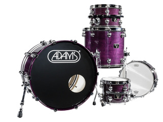 shellset Adams 8000 Dpresent 22 Studio Maple Hout Chrome Hardware incl.New Style Rimsyteem Dark Purple