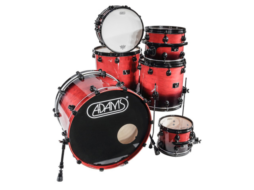 shellset Adams 8000 Dpresent Extra Savage 22 Rock Maple Hout Black Hardware incl.New Style Rimsyteem Cranberry Fade