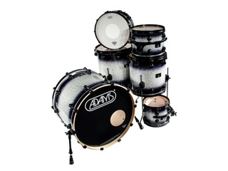 shellset Adams 8000 Dpresent Extra Savage 22 Rock Maple Hout Black Hardware incl.New Style Rimsyteem Diamond Burst