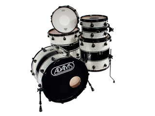 shellset Adams 8000 Dpresent Extra Savage 22 Rock Maple Black Hardw incl.New Style Rim Silver Sparkle Black Racing Stripe