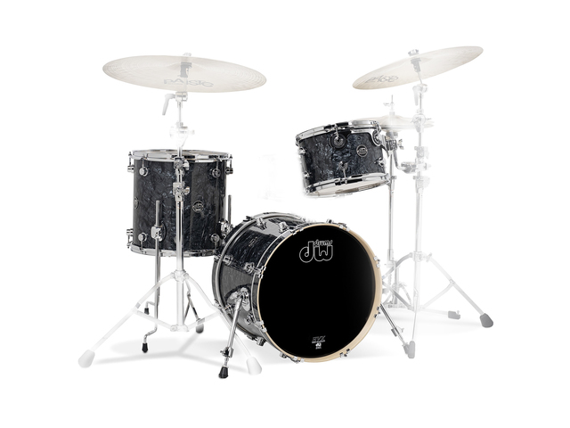 "Shell Set DW Performance Finish Ply / Satin Oil 18"" 3-delig Black Diamond, 18"", 12"", 14"""