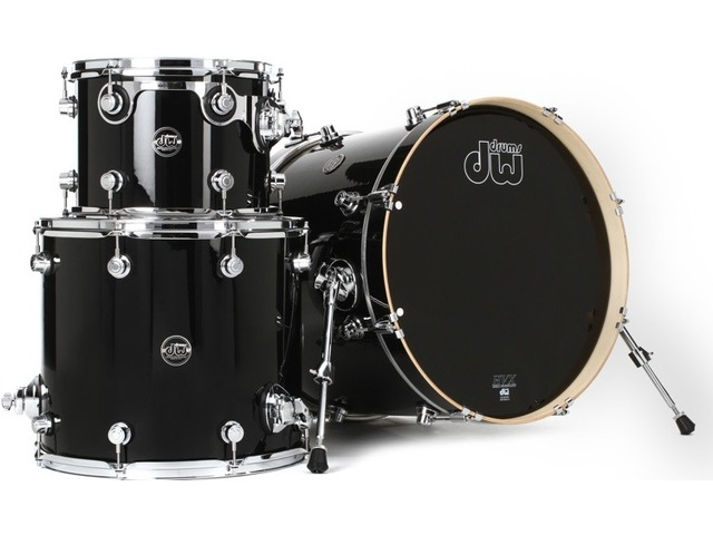 "Shell Set DW Performance Finish Ply / Satin Oil 22"" 3-delig Gloss Black, 22"", 12"", 16"""
