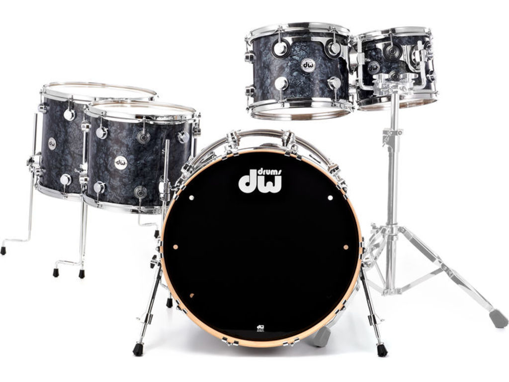 "Shell Set DW Performance Finish Ply / Satin Oil 22"" 4-delig Black Diamond, 22"", 10"", 12"", 14"""