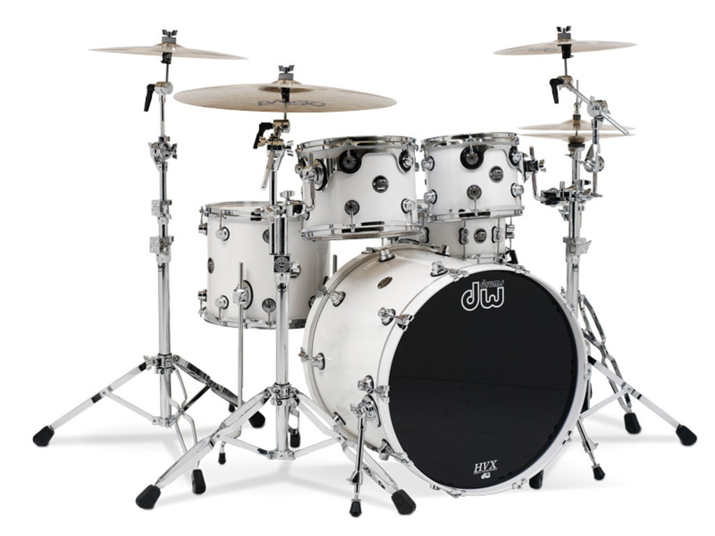 "Shell Set DW Performance Finish Ply / Satin Oil 22"" 4-delig Gloss White, 22"", 10"", 12"", 14"""