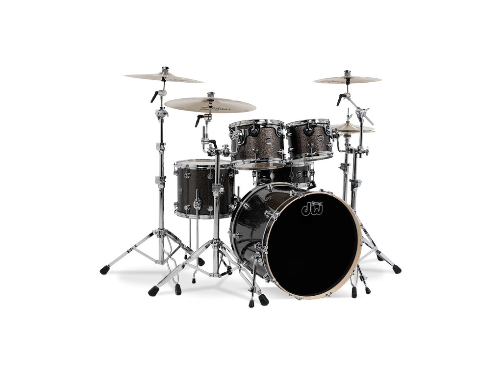 "Shell Set DW Performance Finish Ply / Satin Oil 22"" 4-delig Pewter Sparkle, 22"", 10"", 12"", 16"""