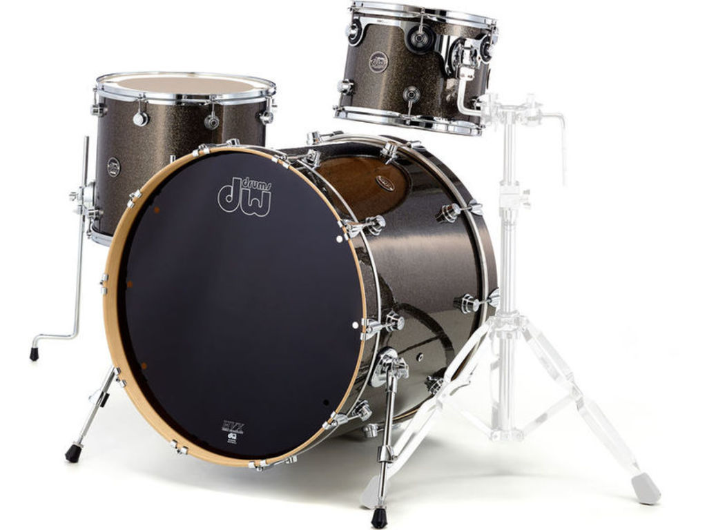 "Shell Set DW Performance Finish Ply / Satin Oil 24"" 3-delig Pewter Sparkle, 24"", 12"", 16"""