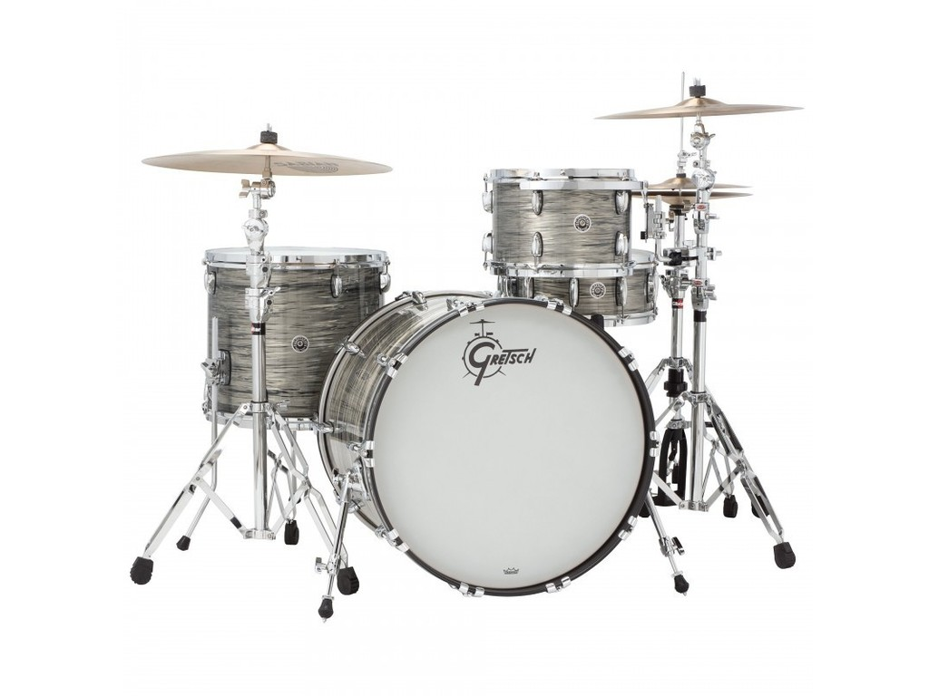 "Shell Set Gretsch USA Brooklyn GB-J483-301 Grey Oyster, 18"", 12"", 14"", inclusief tom houder"