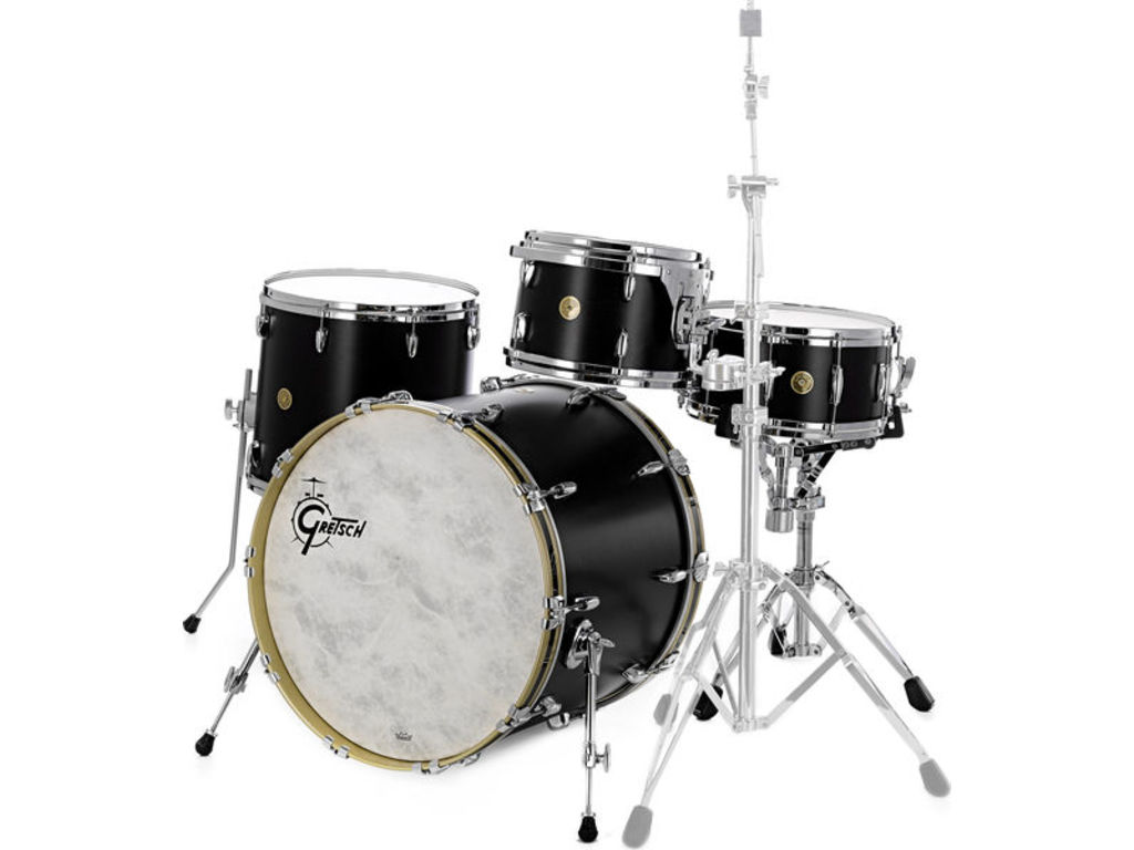 "Shell Set Gretsch USA Brooklyn GB-J483-SDE Satin Dark Ebony, 18"", 12"", 14"", inclusief tom houder"
