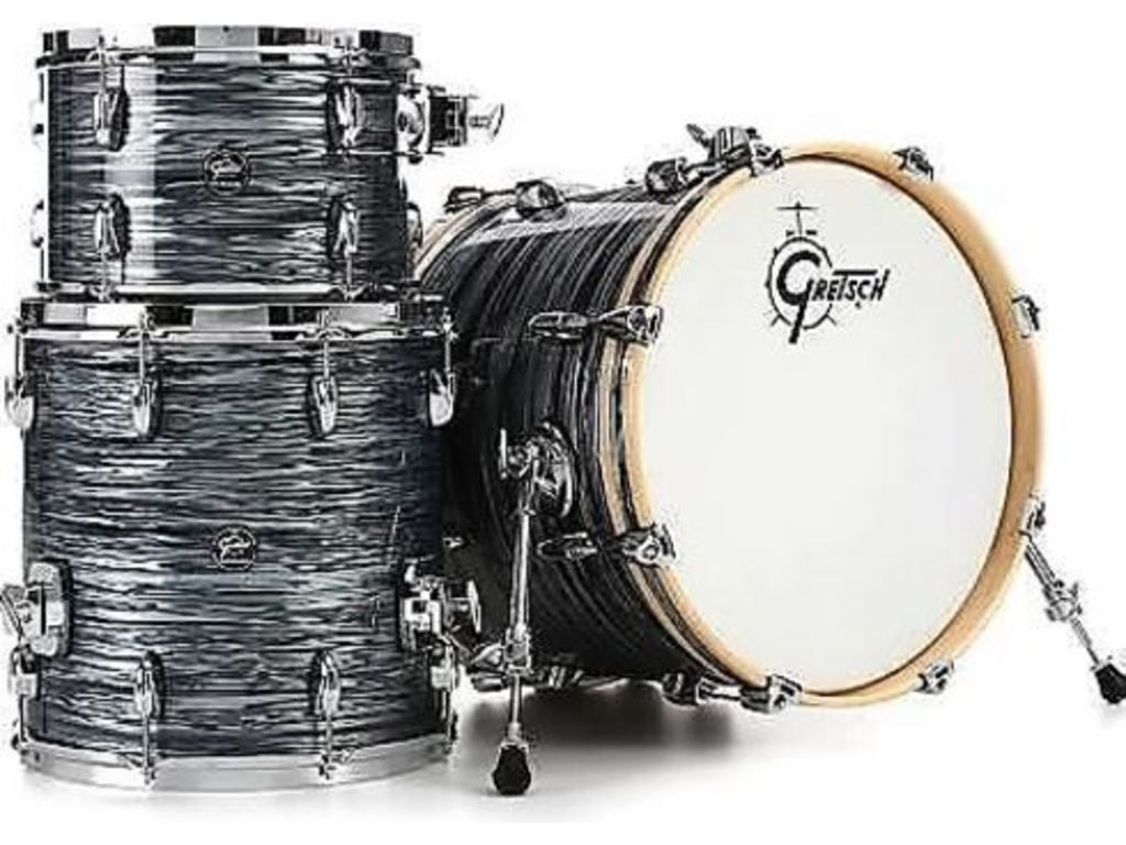 "Shell Set Gretsch Renown RN2-J483-SOP Silver Oyster Pearl, 18"", 12"", 14"", inclusief tom houder"
