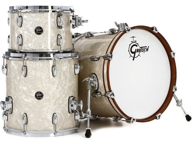 "Shell Set Gretsch Renown RN2-E823-VP Vintage Pearl, 22"", 12"", 16"", inclusief tom houder"