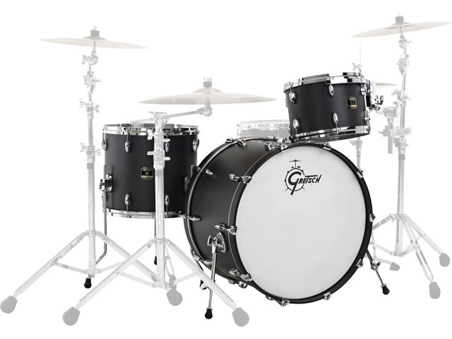 "Shell Set Gretsch Renown RN2-R643-PB Piano Black, 24"", 13"", 16"", inclusief tom houder"