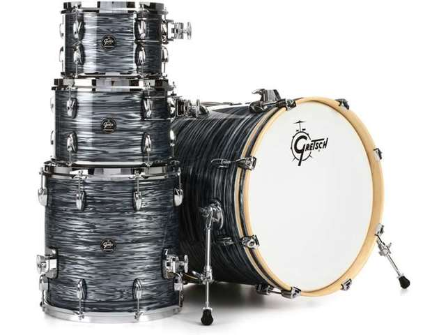 "Shell Set Gretsch Renown RN2-E604-SOP Silver Oyster Pearl, 20"", 10"", 12"", 14"", inclusief dubbele tom houder"