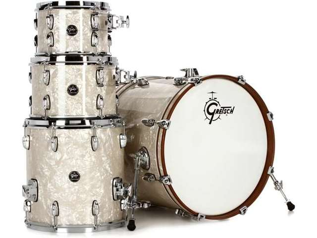 "Shell Set Gretsch Renown RN2-E604-VP Vintage Pearl, 20"", 10"", 12"", 14"", inclusief dubbele tom houder"