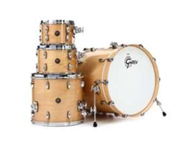 "Shell Set Gretsch Renown RN2-E604-GN Gloss Natural, 20"", 10"", 12"", 14"", inclusief dubbele tom houder"
