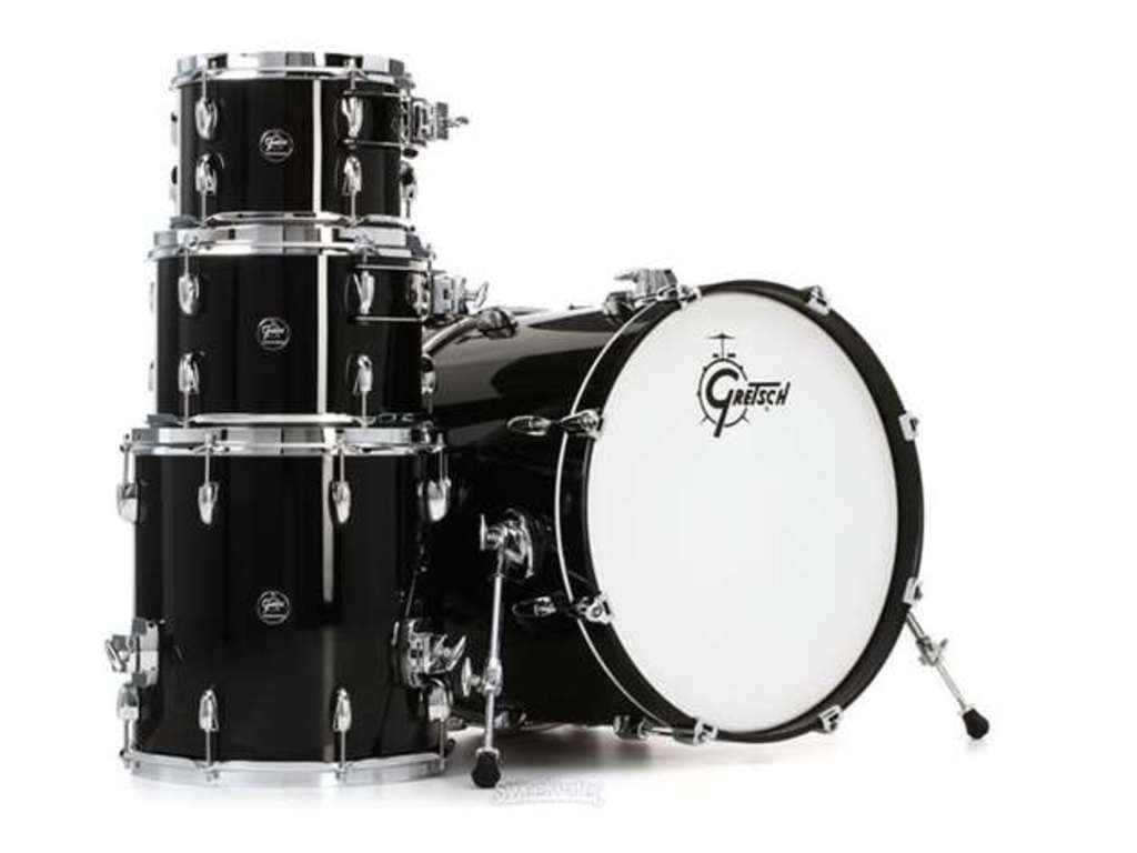 "Shell Set Gretsch Renown RN2-E604-PB Piano Black, 20"", 10"", 12"", 14"", inclusief dubbele tom houder"