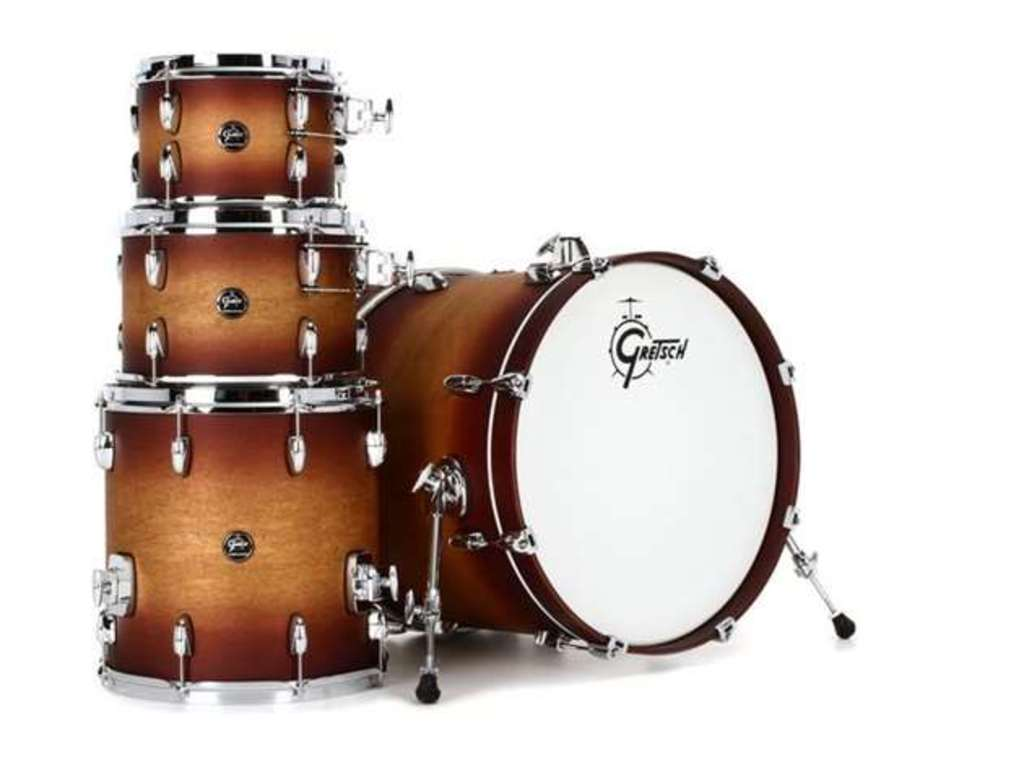 "Shell Set Gretsch Renown RN2-E8246-STB Satin Tobacco Burst, 22"", 10"", 12"", 16"", inclusief dubbele tom houder"