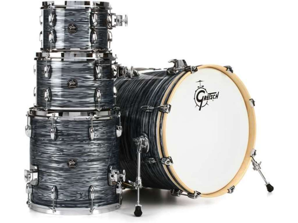 "Shell Set Gretsch Renown RN2-E8246-SOP Silver Oyster Pearl, 22"", 10"", 12"", 16"", inclusief dubbele tom houder"