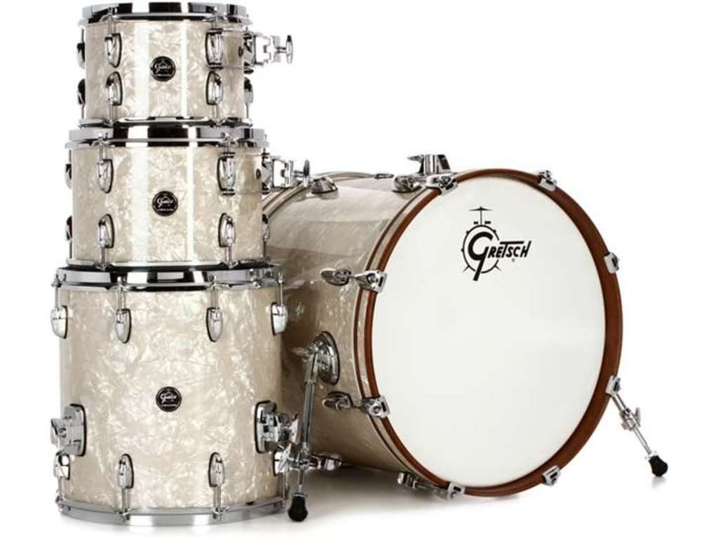 "Shell Set Gretsch Renown RN2-E8246-VP Vintage Pearl, 22"", 10"", 12"", 16"", inclusief dubbele tom houder"
