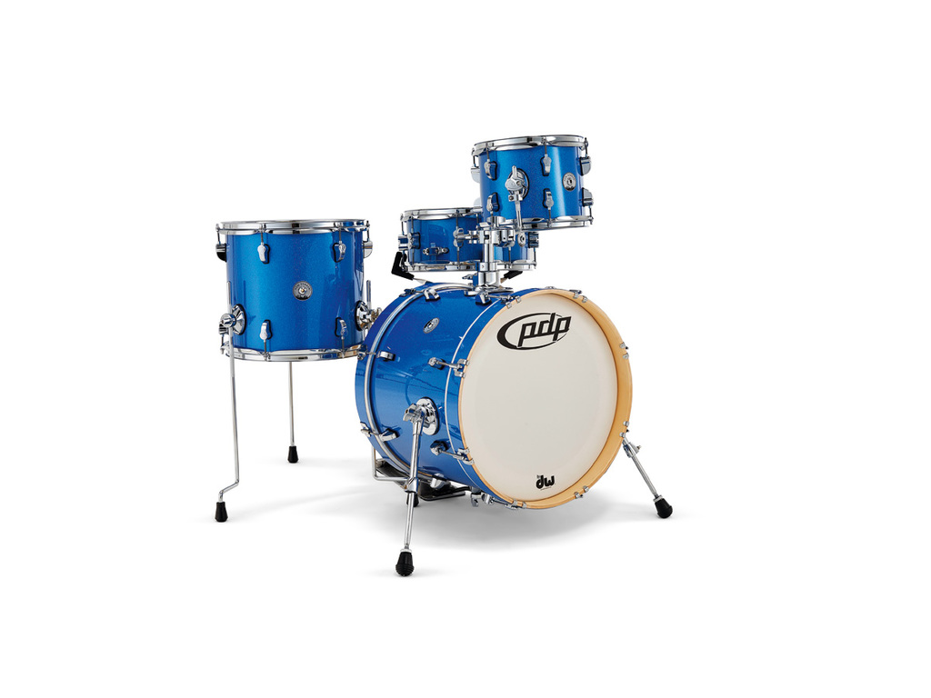 "Shell Set PDP New Yorker Blue Sparkle, 18"", 10"", 13"", 13"", inclusief riser"