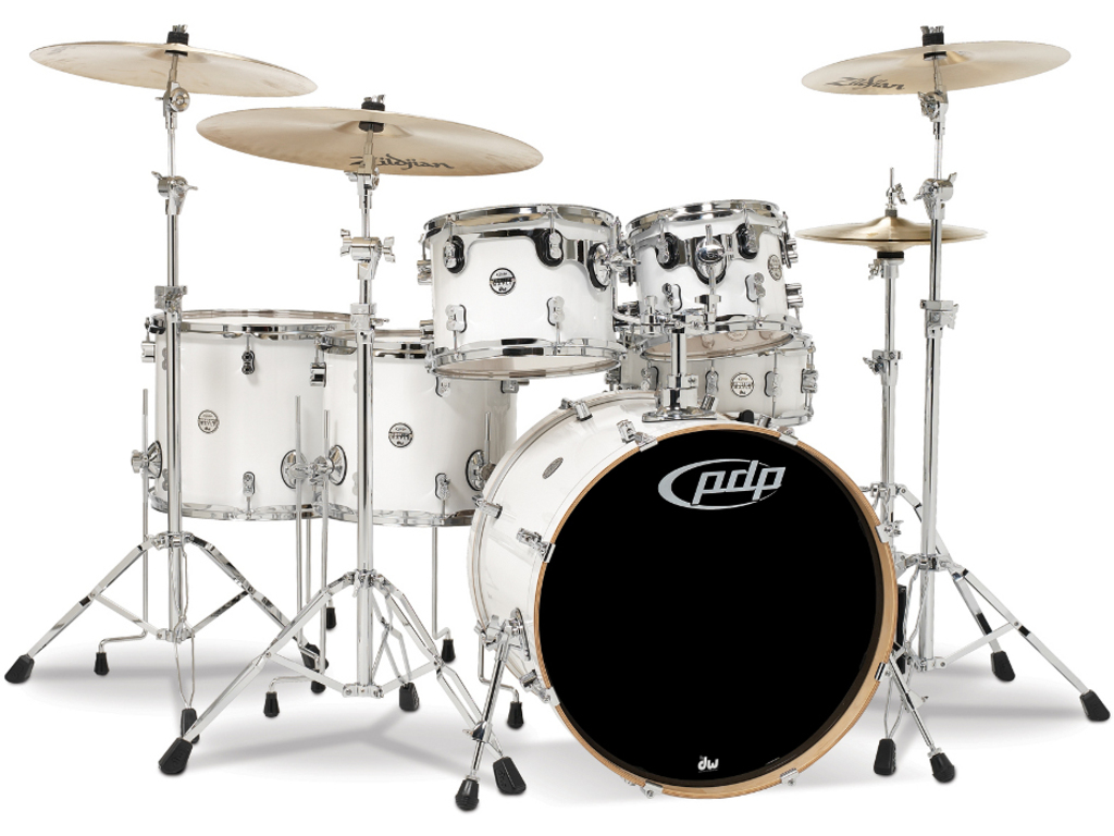 "Shell Set PDP Concept Maple CM6 22"" Pearlescent White, 22"", 10"", 12"", 14"", 16"", 14"", zonder hardware"