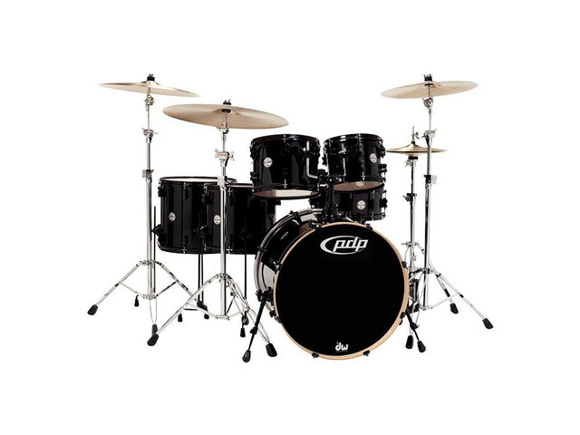 "Shell Set PDP Concept Maple CM6 22"" Pearlescent Black, 22"", 10"", 12"", 14"", 16"", 14"", zonder hardware"